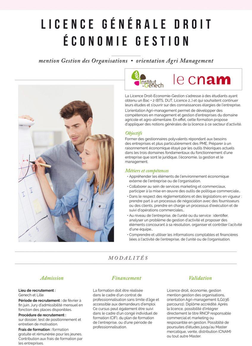 Licence générale : droit économie gestion. Spécialité agri-management