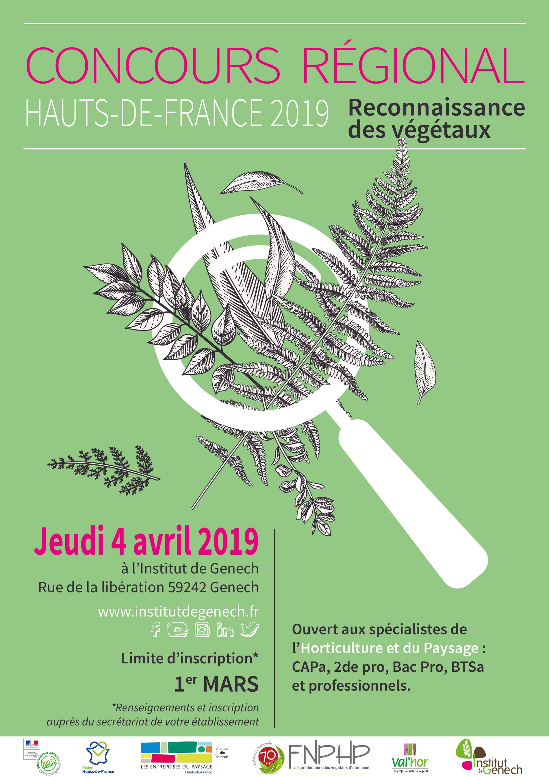 Affiche du concours régional de reconnaissance de végétaux 2019