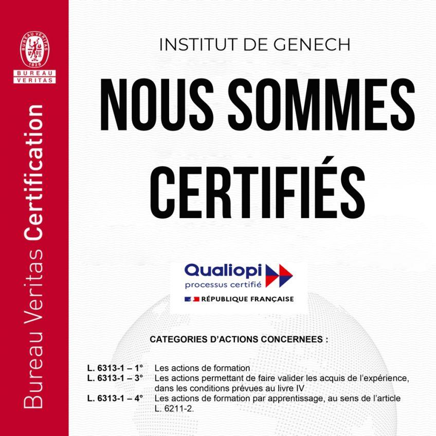 Notre certification «Qualiopi», gage de qualité de nos formations  
